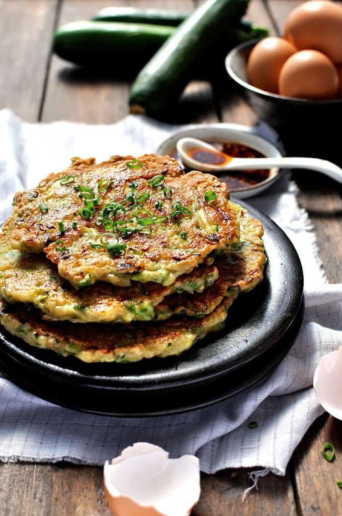 Chinese Zucchini Pancakes - delicately flavoured with a touch of five spice, these zucchini pancakes are easy to make and are something different to start your day.