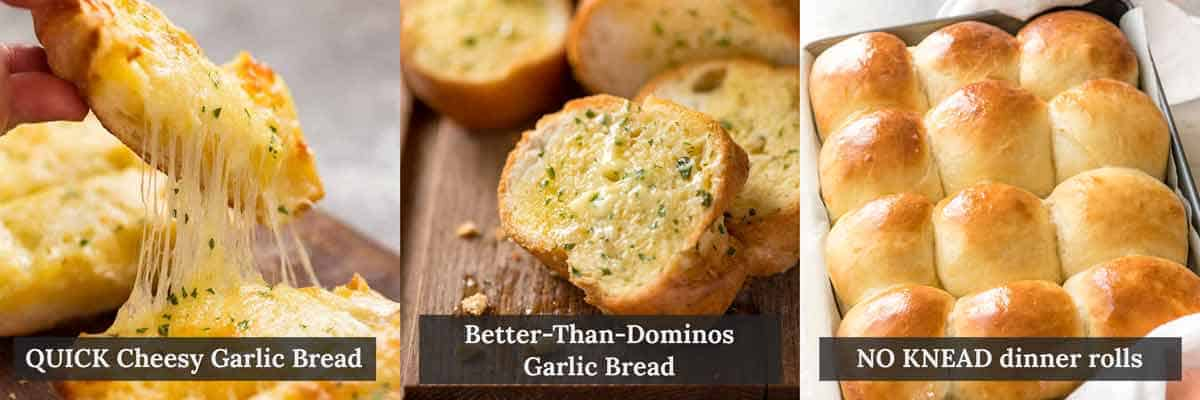 Bread Soup Dippers - Cheesy Garlic Bread, Garlic Bread better than Dominos and Soft NO KNEAD Dinner Rolls